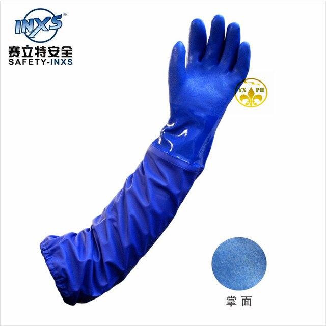 Os novos 2016 luvas DE luvas jinsu acidproof alcalino luvas de trabalho estendida 66 cmprotective gomaP38066 saco correio