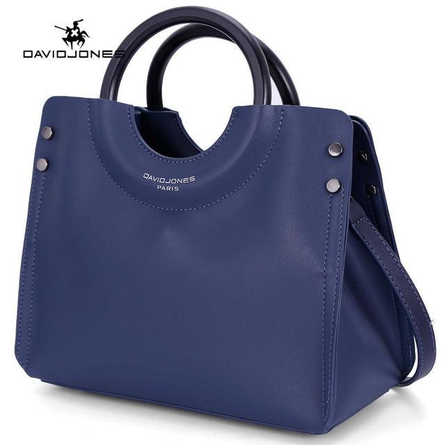 DAVIDJONES women handbag faux leather solid top handle bag
