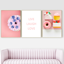 Surreal Millennial Pink Flower Cake Wall Art Canvas Painting Nordic Posters And Prints Pictures For Living Room Home Decor