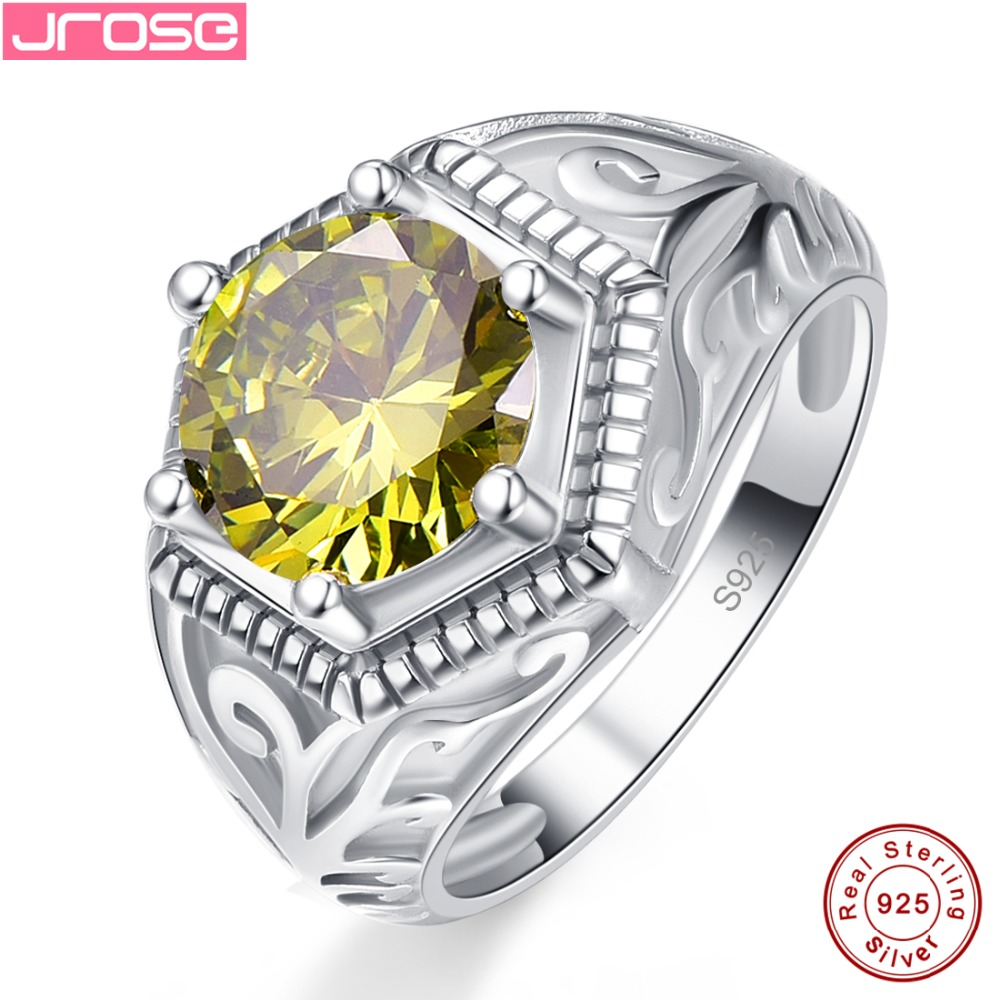 Jrose Luxury Wedding Solitaire Olive green & Sea blue Cubic Zirconia Jewelry Standard 925 Sterling silver Ring Size 6 7 8 9