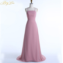 BeryLove Sexy Brown Slight Evening Dress 2019 Halter Spaghetti Straps Backless Pink Gowns Formal Back