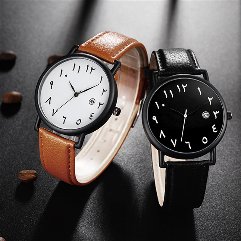 Quartz Watch Fashion Arab Numbers Men and Women Unisex Watch PU Leather Watchband Quartz Wristwatches with Calendar Display 45Quartz Watch Fashion Arab Numbers Men and Women Unisex Watch PU Leather Watchband Quartz Wristwatches with Calendar Display 45