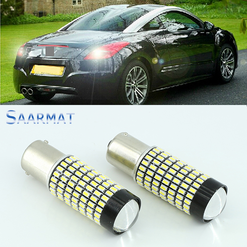 For Peugeot 206 207 307 308 406 407 507 508 Pair Canbus 158-SMD 1156 BA15S LED Bulb Backup Reverse Light