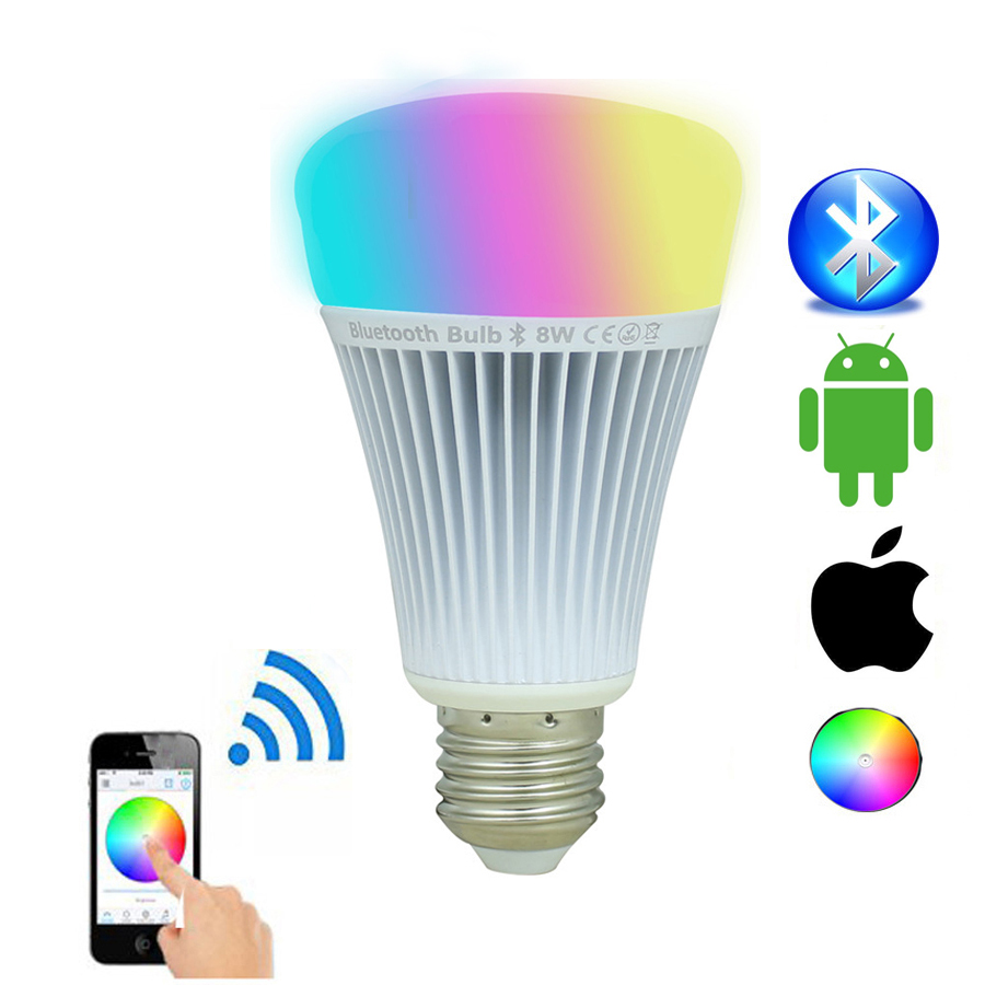 Milight 8W Bluetooth 4.0 LED Bulbs E27 Smartphone Control RGBW RGBWW RGB+CCT Led Lamps Work For IOS Android AC110V 220V