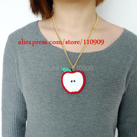 143N Laser Acrylic So Cute Red Apple Pendant Necklace