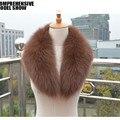 2015 de luxo Fox Fur Collar inverno mulheres Fur Neck anel acessório do vestuário senhora Neckwarmer Pashmina xale Wraps VK2009