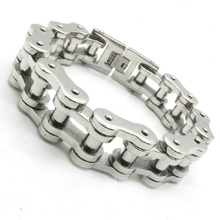 14.5MM Gothic Men's Motor Bicycle Motorcycle Chain Bangle Bracelet, 316L Stainless Steel