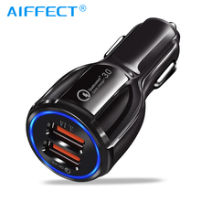 AIFFECT Car USB Charger Quick Charge 3.0 2.0 Mobile Phone Charger 2 Port USB Fast Car Charger for iPhone Samsung Tablet Charger цена и фото