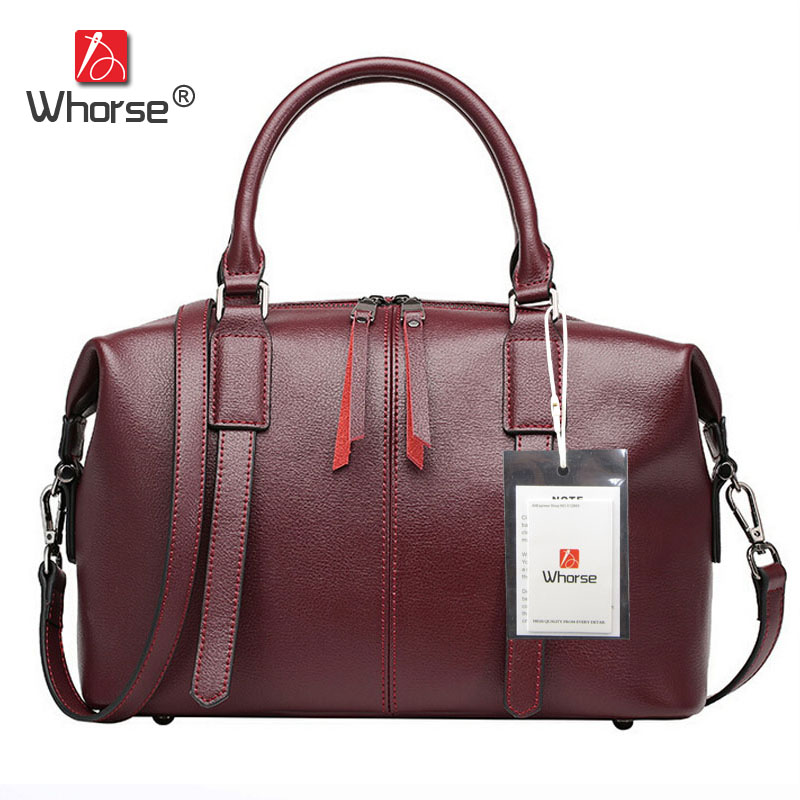 [WHORSE] Hot Brand Luxury High Quality Genuine Leather Women Handbag Shoulder Bag Cowhide Ladies Handbag Messenger Bags W07910 [whorse] brand luxury fashion designer genuine leather bucket bag women real cowhide handbag messenger bags casual tote w07190