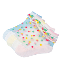 5 Pairs/Lot Summer Girls Socks Mesh Style Baby Socks with Trendy Elastic Lace Flowers Children Socks