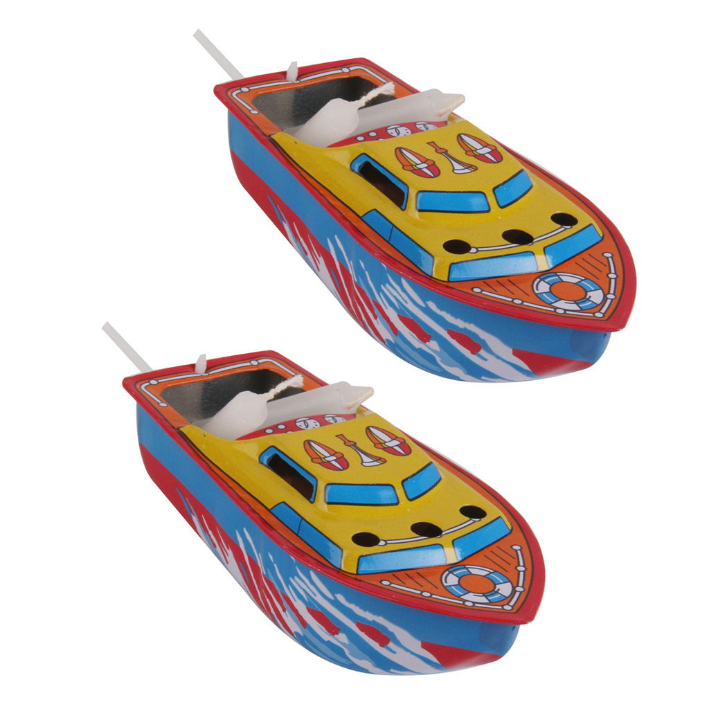 2Pcs Collectible Candle Powered Steam Boat Tin Toy Vintage Style Floating POP POP Boat Toy Gift