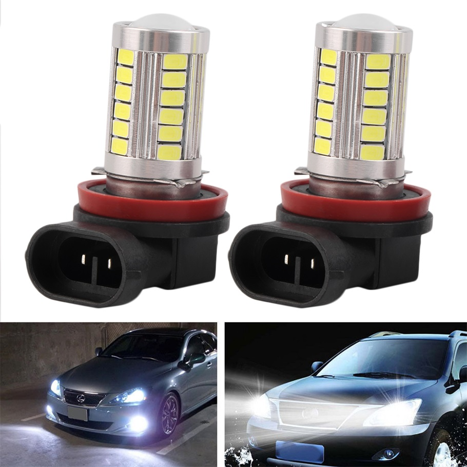 2Pcs H11 H8 Super Bright 5630 33 SMD Auto LED White Fog Lamp Light Bulb Driving Car Light Car H11 H8 Lights Hot Sell 1pcs car led dc12v h8 fog lamp bright led light bulbs drl 33 5630 smd with lens xenon white ice blue yellow 2z9