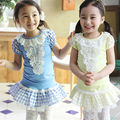 Baby Girls Set 2pcs Suit Cotton Top Pants With Skirts Kids Girl Sets Summer Clothing 2016 Children T-shirt+culottes 2pcs Sets
