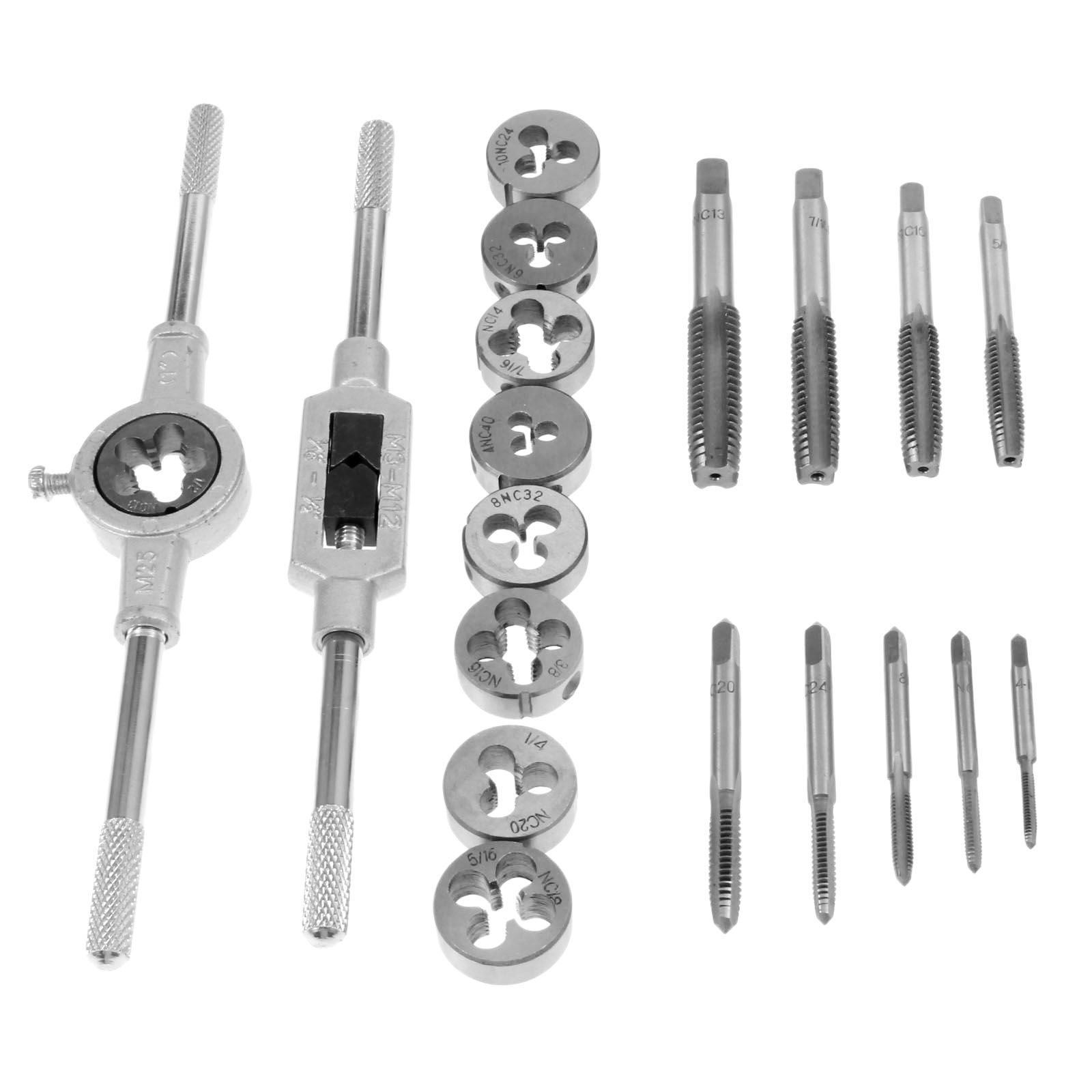 DRELD 20Pcs Inch Tap Dies Set 1 2  -6  NC Screw Thread Inch Plugs Taps Alloy Steel Hand Screw Taps Tap Die Wrench Set Hand Tools