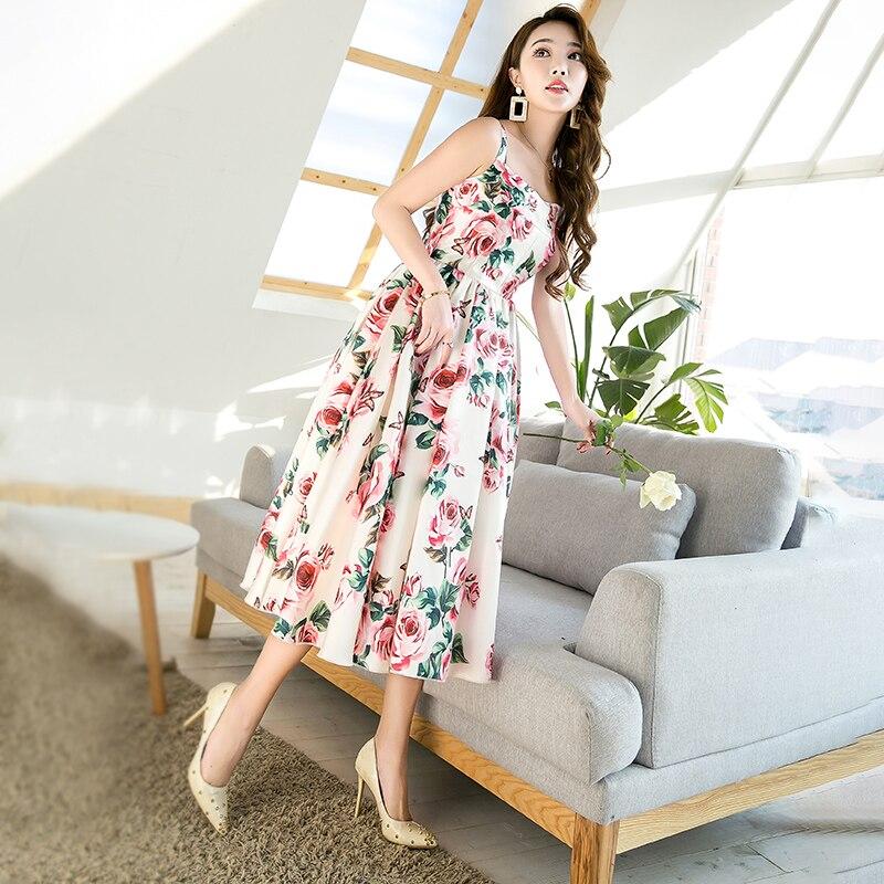 Floral Señoras Bola Mediados Impreso 2018 Verano Vestido Mujeres Runway Vintage Diseñador Rosa Del Vestidos De De pantorrilla Y1qwaRT