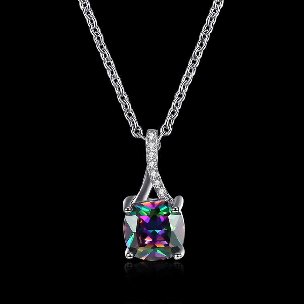 OL Style Square Mystic Rainbow Zirconia Chain Necklaces & Pendants White Gold Color Fashion Crystal Wedding Jewelry For Women