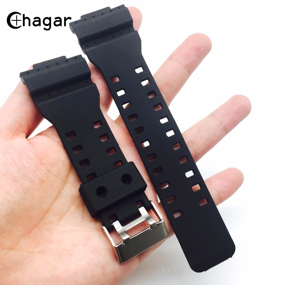 16mm Black Silicone Rubber Sports Watch Strap For Casio GA100 GA110 G8900 GD100 Men Women Waterproof Watch Band Wrist Bracelet