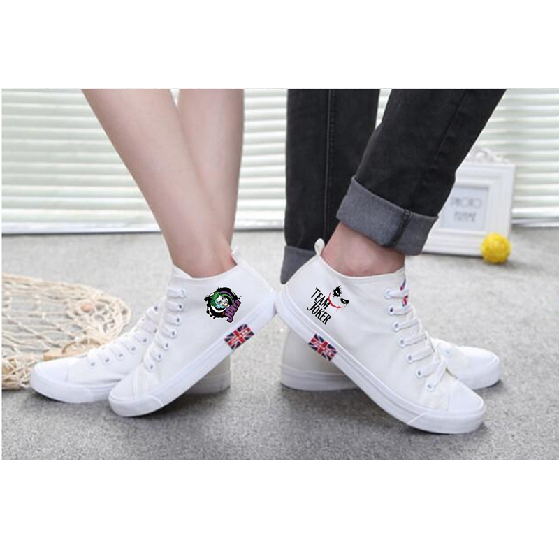 Cool Joker Cartoon pattern Printing High Heel Canvas Uppers Sneakers College Personalise Fashion Casual