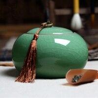 Chinese Ceramic Food Box With Cover Top Grade Crackle Glaze Longquan Celadon Ceramics Tea Caddy Tea