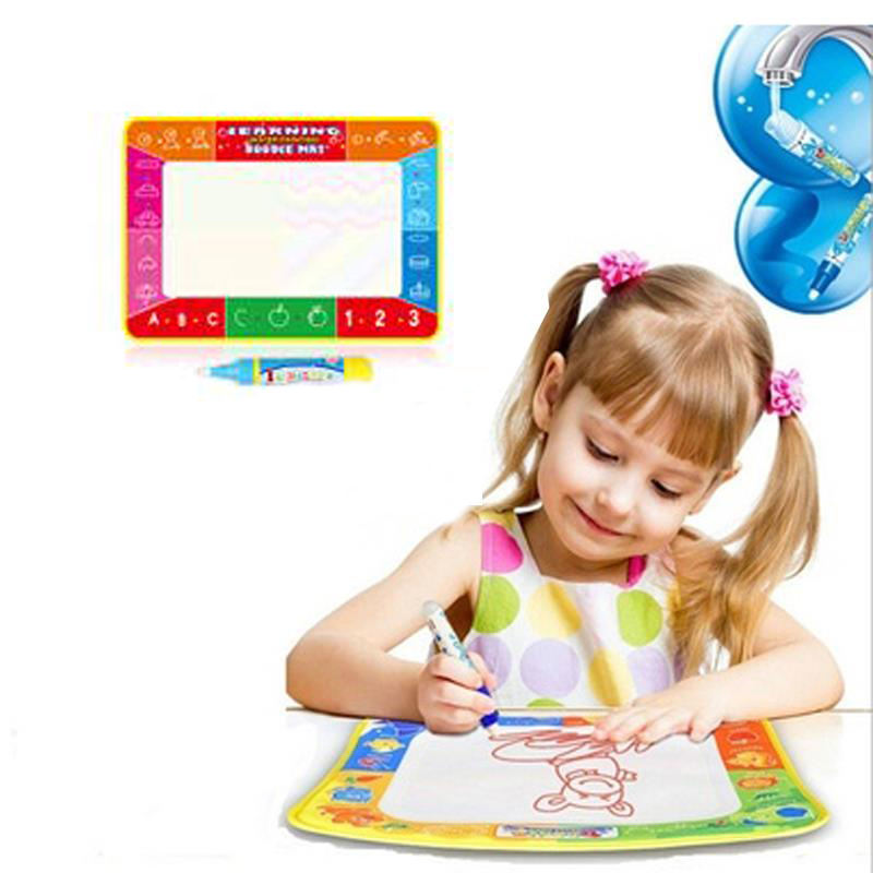 Draw Paint Water Canvas Magic Doodle Mat With Pen Brushes 29X19cm Baby toys
