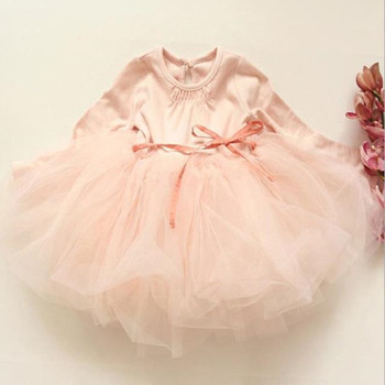 Newest Autumn Cute Lace Baby Girls Dress Princess Clothes Kids Children's Costume Ball Gown with belt 3-7T 3 Color
