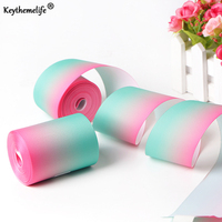Keythemelife 50Yards Roll Satin Ribbon Blue Green Pink Gradient Ribbons Christmas New Year Party Decor Gift