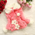 Retail 2015 New Girls Faux Plush Flower Winter Coat 3 Colors Kids Warm Outerwear Children keep Warm jackets In Stock