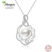 Hongye 2017 High Quality Big 12mm Natural Freshwater Pearls With 925 Sterling Silver Pendant Necklace Luxury