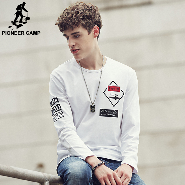 Pioneer Camp 2017 New Autumn Men T Shirt Long Sleeve Cotton Fashion Casual  Elastic Slim Fit T Shirt Man Brand Clothing 622103