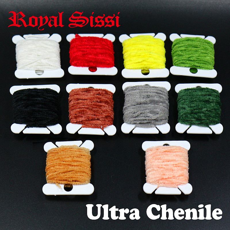 Hot 10Cards/lot 10Colors Assorted Rayon Chenille Yarn 2mm Micro Chenille Midges Yarn Nymphal Collar And Body Fly Tying Materials