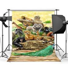 Zoo Backdrop Animals World Tiger Lion Zebra Peacock Elephant Giraffe Cartoon Background