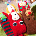 Cute Print Christmas Socks Women Coral Velvet Adult Thick Socks Kids Warm Children Socks Floor Anti-Skid Family Household Socks
