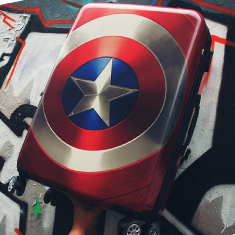 цены на 20/24/28 inch High quality cool Captain America trolley case ABS+PC Travel luggage rolling suitcase men business Boarding box в интернет-магазинах