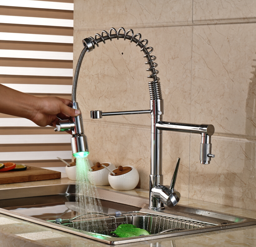 LED Color Changing Spring Kitchen Faucet Vanity Sink Mixer Tap Deck Mounted Hot and Cold Water deck mounted modern led spring chrome kitchen faucet dual spouts sink mixer tap 3 color changing