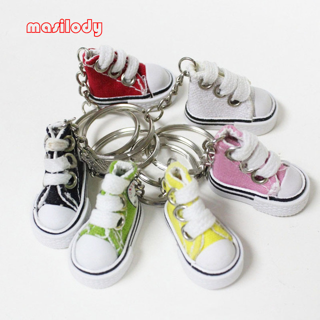 20pcs Lot Mini Canvas Sneaker Shoes keychain Cute Gifts Shoe Keychain  Tennis Sport Shoes Keyring ee75a4af7520
