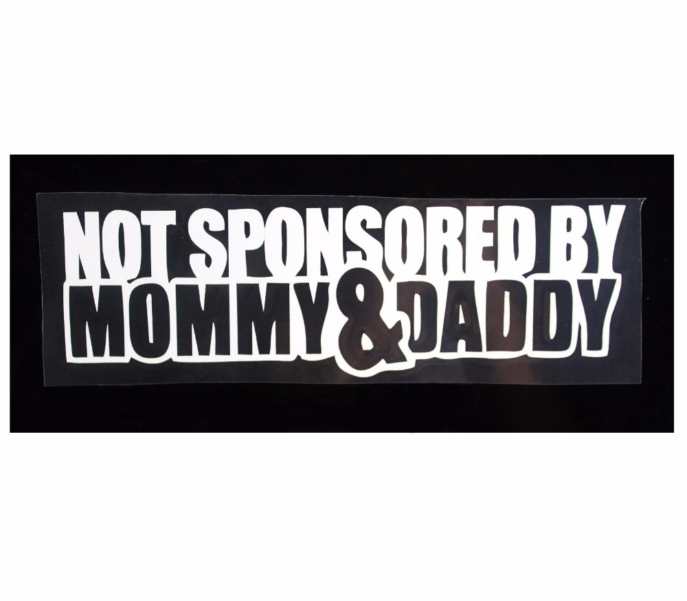 2017 funny not sponsored by mommydaddy auto truck car sticker window vinyl decal motorcycle decorate sticker car accessories in car stickers from