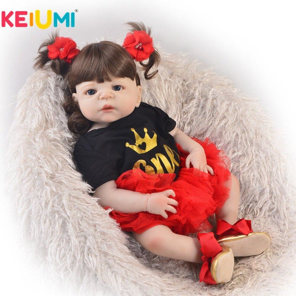 KEIUMI 23 Cal moda Reborn żywe lalki pełne ciało silikonowe 57 cm księżniczka dziewczyna Baby Doll dla dzieci na dzień prezent dla dzieci zabawki do zabawy w Lalki od Zabawki i hobby na  Grupa 1