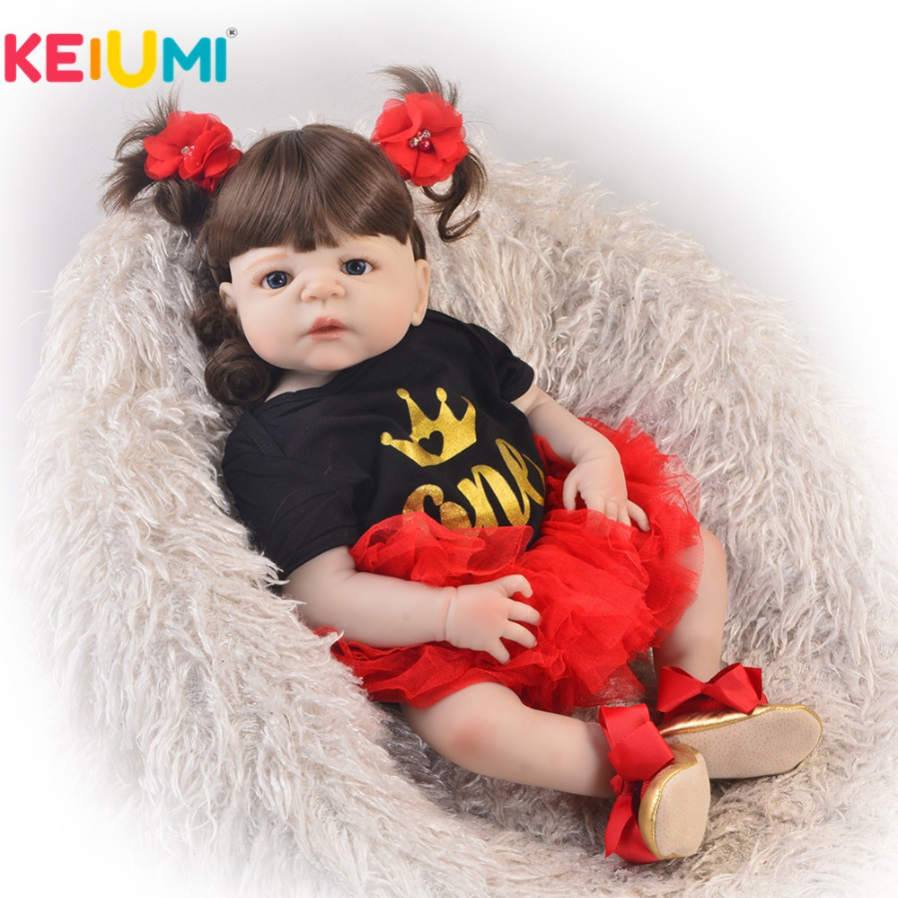 KEIUMI 23 Inch Fashion Reborn Alive Doll Full Body Silicone 57 cm Princess Girl Baby Doll For Children's Day Gift Kids Play Toy keiumi 23 reborn babies doll full body silicone vinyl fashion diy toy for girl realistic princess 57 cm children s day gifts