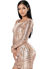 2017 Autumn New Fashion Hot Selling Women Night Club Mini Dresses Open Back Long Sleeve Sequin Dress Bodycon Dress LC22867