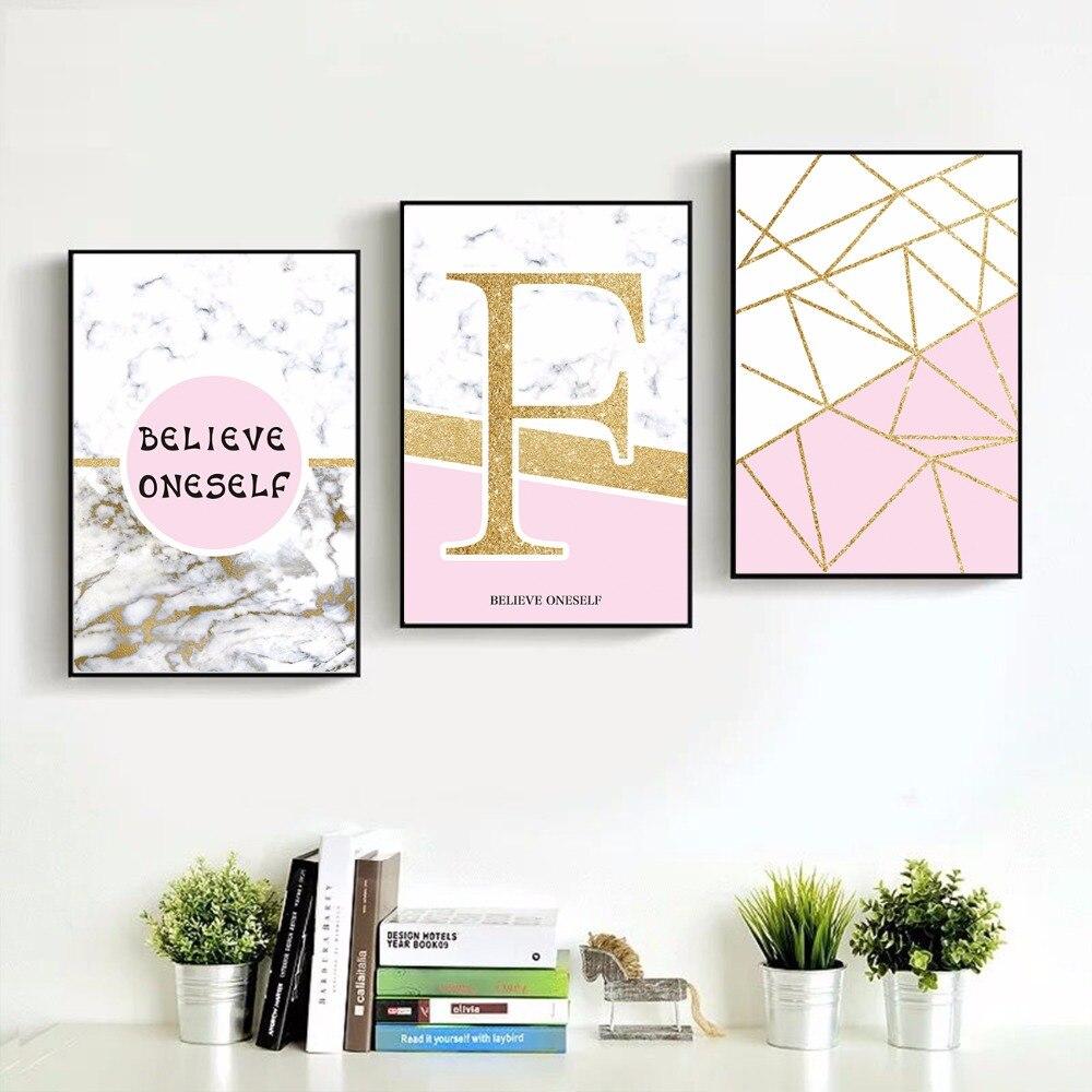 Vente Creative Rose Geometrique Nordique Art Toile Affiche Et