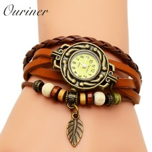 Ouriner Fashion Watch Hot Selling Women PU Leather Bracelet Watch Women Dress Watches leaf Vintage WristWatch No.10