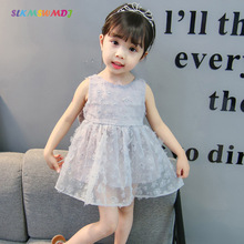 ФОТО SLKMSWMDJ2018 summer  girl cotton big bow dress baby Korean sleeveless solid color cute princess lace dress for 1-9 years old