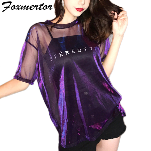 Foxmertor 2019 Summer Women Perspective Light Silk Yarn Sexy Club Short-Sleeved O-neck T-shirt Pink Green Blue Top + Sling