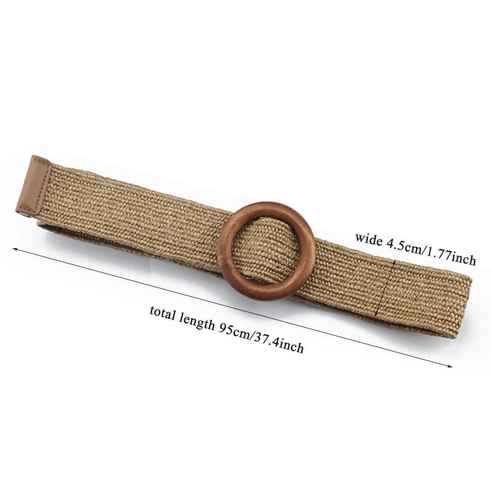 Vintage Boho pleciony pas biodrowy lato jednolity, damski pasek okrągły drewniany gładka klamra fałszywe słomy szerokie pasy dla kobiet gorąca sprzedaż