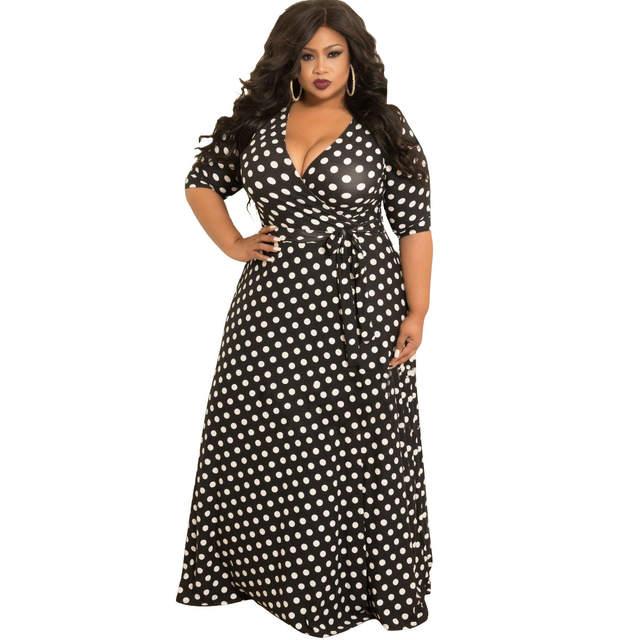 US $22.62 27% OFF|Plus Size Dress Women Beach Bohemian Vestido Long Sleeve  V Neck Floor Length Dress Polka Dot Print Long Maxi Dresses 5XL Belt-in ...