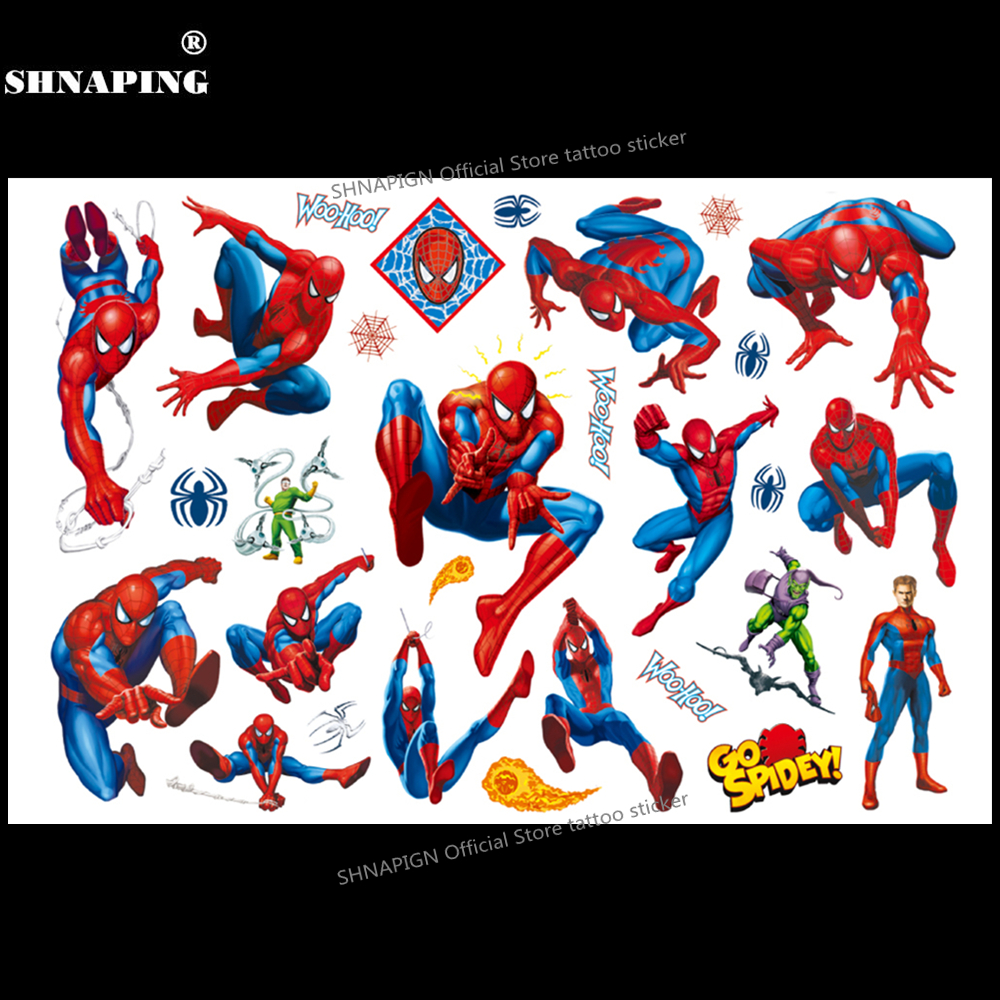 SHNAPIGN Cute Spiderman Children Cartoon Temporary Tattoos Sticker Fashion Summer Style Elsa Waterproof Girls Kids Boys Hot