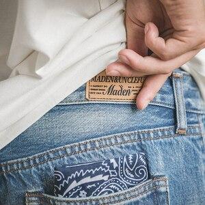 Image 2 - MADEN Men's Washed Regular Straight Fit Jeans with Pocket Square Black Light Blue