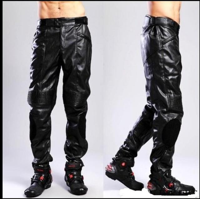 61083602a33a4 S-3XL HOT New Men s Brand PU Leather pants motorcycle riding pants men and  women