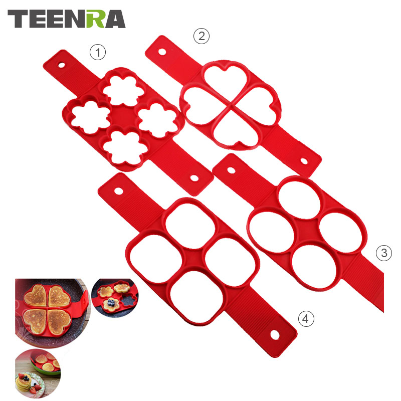 TEENRA Red Non-stick Silicone Egg Mould Flippin 'Fantastic Silicone Form for Pancake Ring Egg Maker Round Square Heart Star