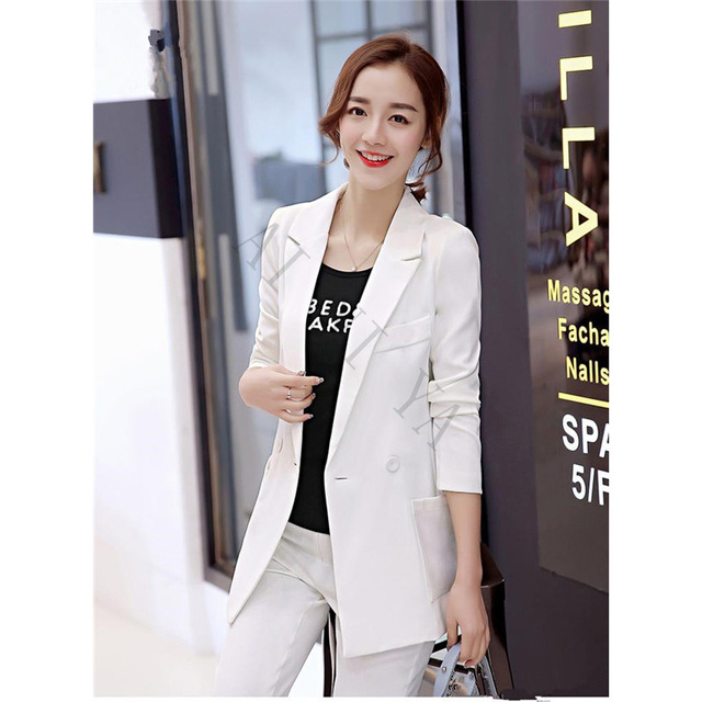 88920484b499 Pants + suit White Red Black Women Tuxedos Shawl Lapel Suits For Women One  Button Business Women Suits Female Office Uniform